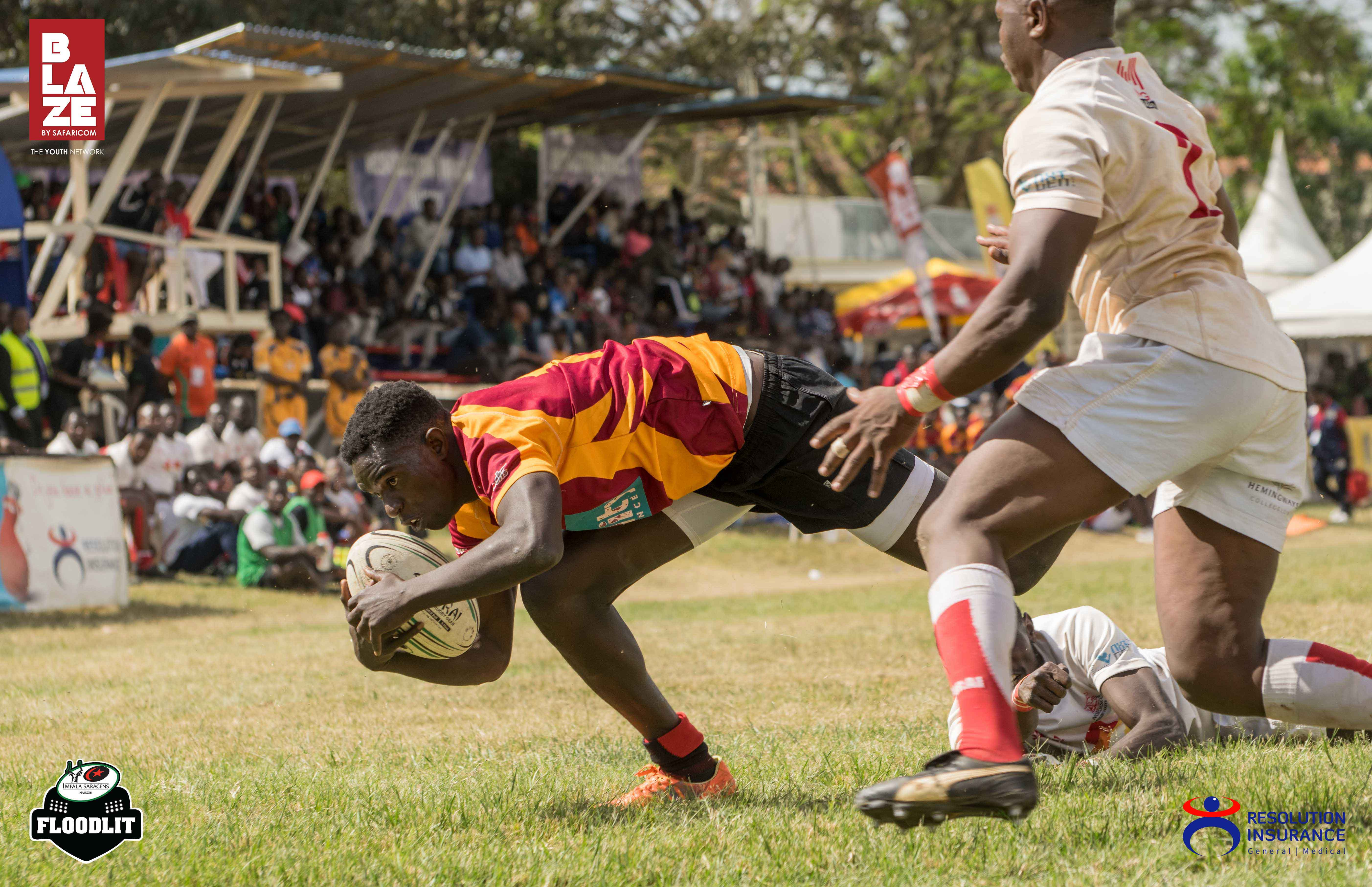 Lionel Ajeliti of Blakblad diving in for a try during their semi-final fixture against Nondies.