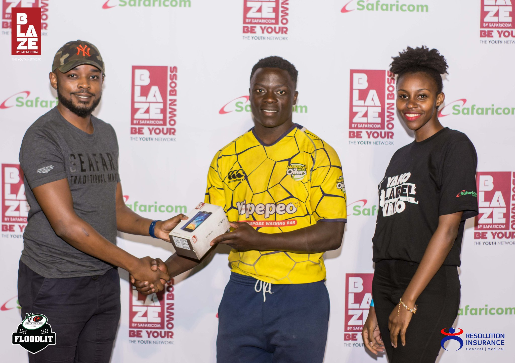 Austin Sikutwa being awarded man of match award after their game against Resolution Impala Saracens.