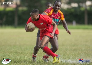 Resolution Impala Saracens blindside winger, Douglas Ochako evades a tackle from Biko of Blakblad in their Kenya Cup match at Impala grounds.